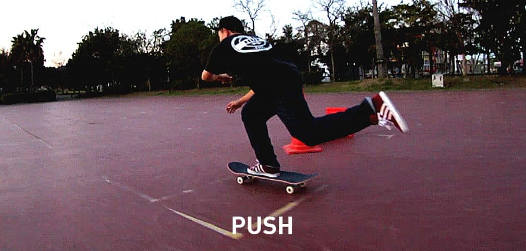 Pushing skateboard