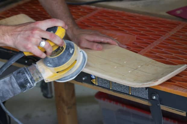 Routing and sanding the skateboard