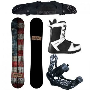 Camp Seven Drifter and APX Mens Complete Snowboard Package 2020 New