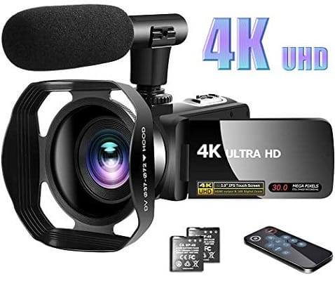 LINNSE Camcorder 4K Video Camera with Microphone Vlogging