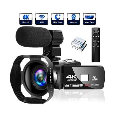 Lincom Tech 4K Camcorder Video Camera Ultra HD Wi-Fi Vlogging