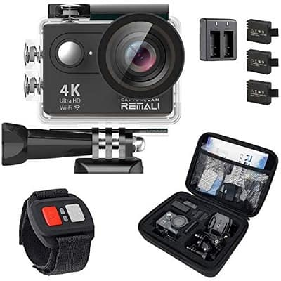 REMALI CaptureCam 4K Ultra HD and 12MP Waterproof Sports Action Camera Kit